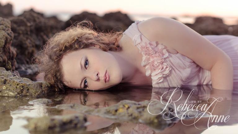 woman-girl-seniro-beach-ocean-water-pink-dress-reflection-sunset