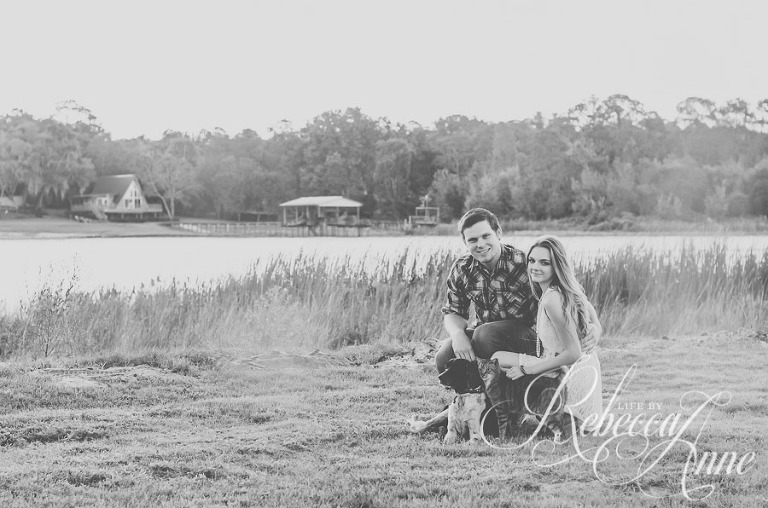 engagement couple, lake, couple, sunrise, smile, pet, dog, cat, black and white