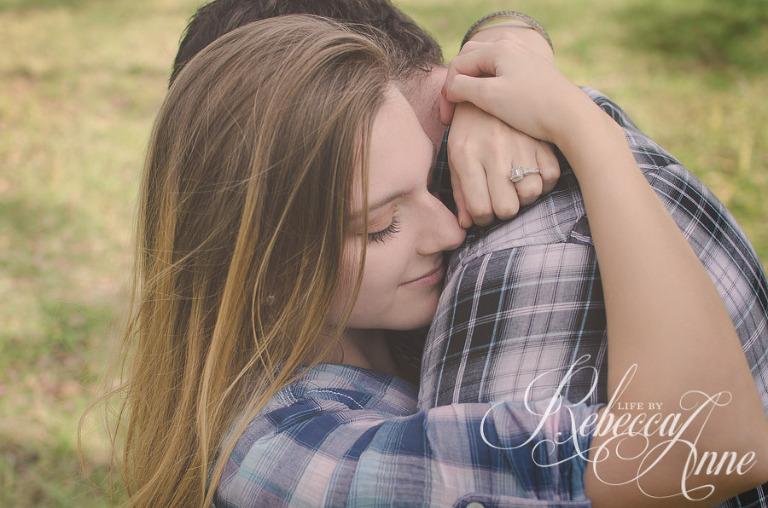 couple, country, plaid, embrace, engagement couple, girl, smile, hug