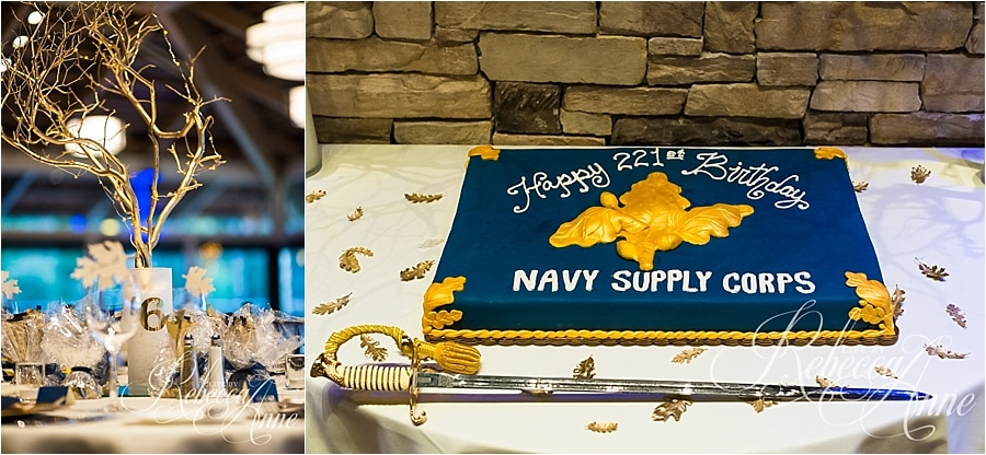 paris bakery, birthday, cake, gold, navy blue, supply, corps, navy, ball, tree, gold tree, centerpiece, table